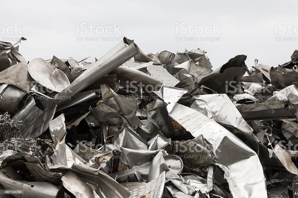 Pile of aluminum scrap metal prepared for recycling stock photo