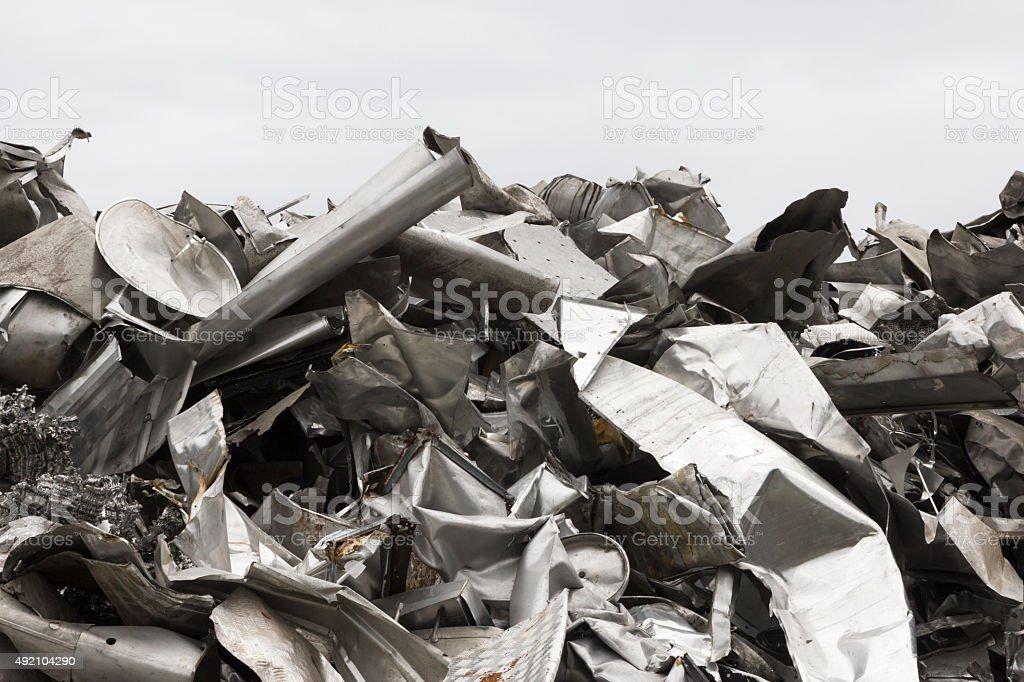 Pile of aluminum scrap metal prepared for recycling stock photo
