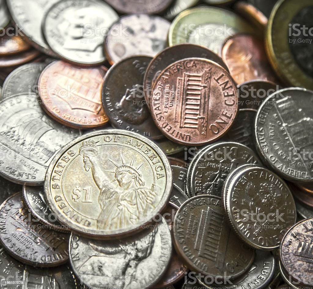 Pile of American Coins US Money One Dollar Coin royalty-free stock photo