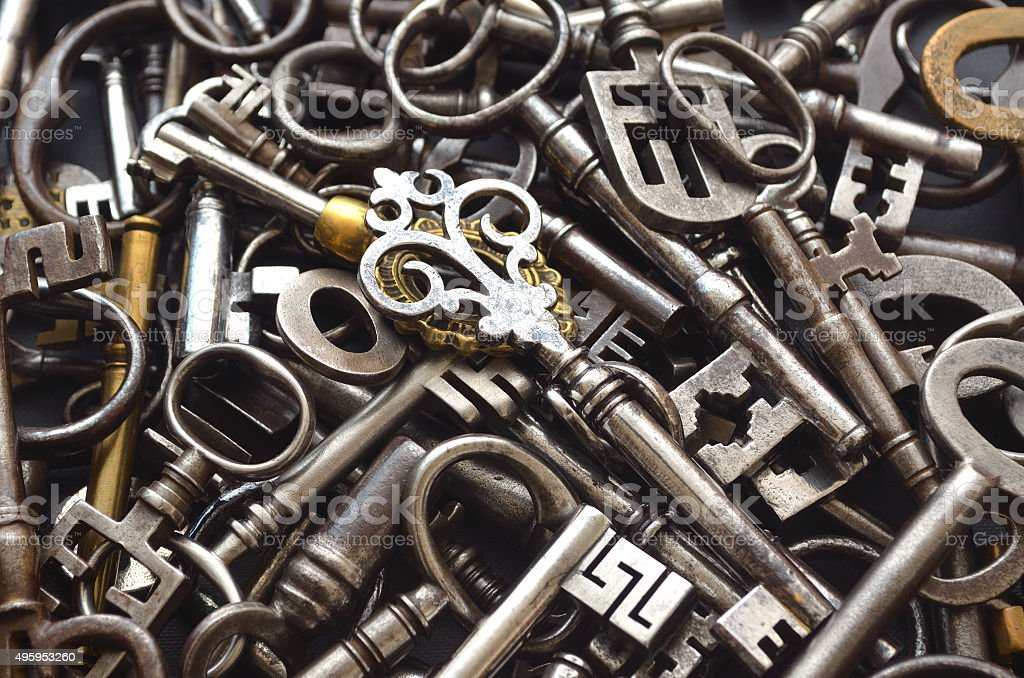 Pile of Antique Keys stock photo