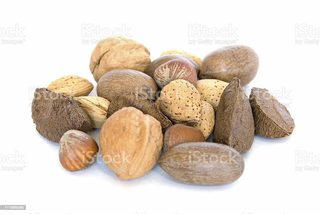 Pile of assorted nuts on white royalty-free stock photo