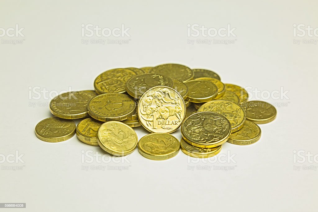 Pile of Australian one and two dollar coins stock photo