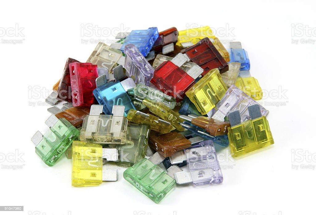 Pile of Auto Fuses stock photo