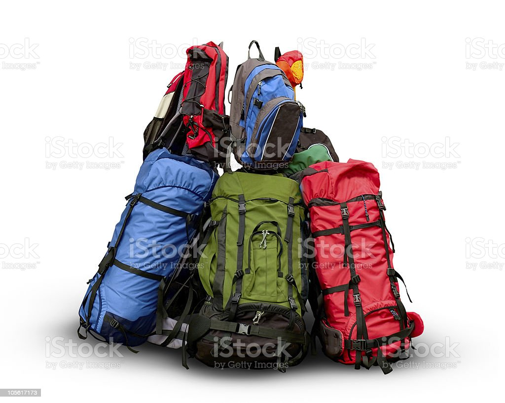 Pile of backpacks royalty-free stock photo