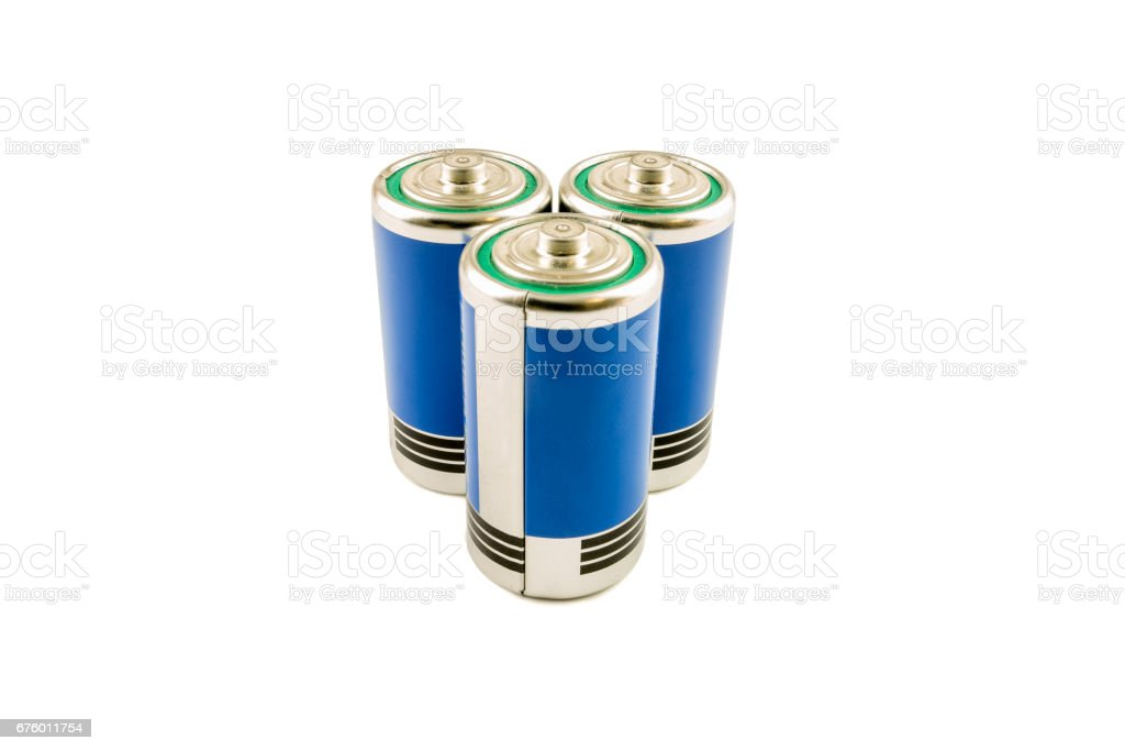 Pile of batteries type C isolated stock photo