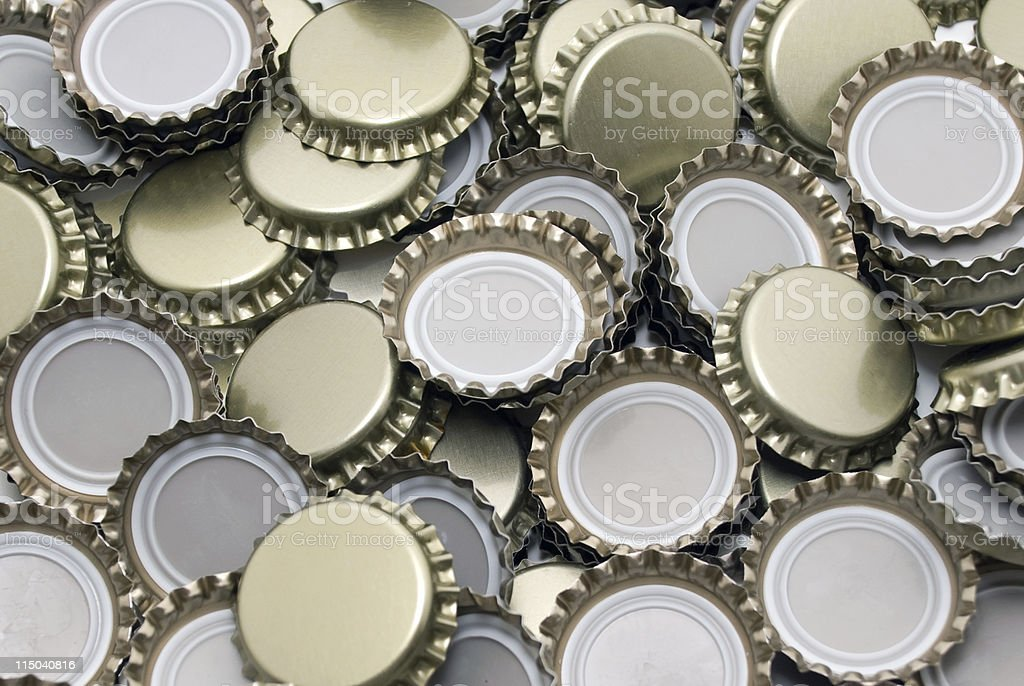 Pile of Beer Bottle Caps Background stock photo
