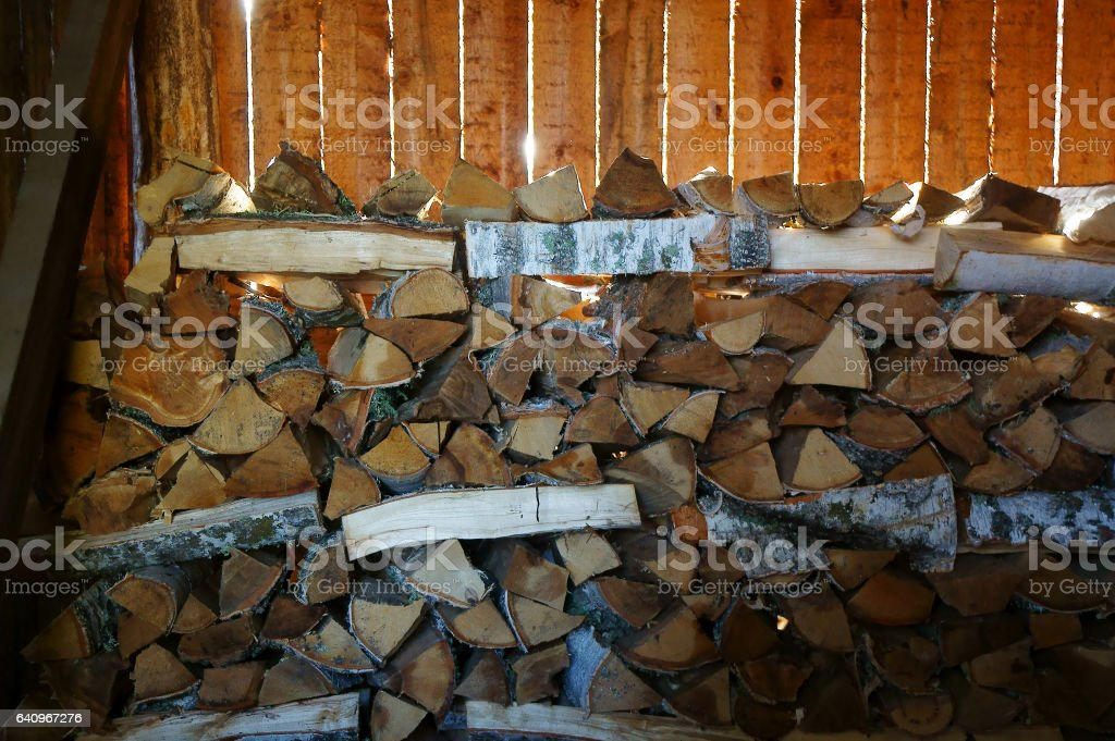 Pile of birch and larch wood stock photo