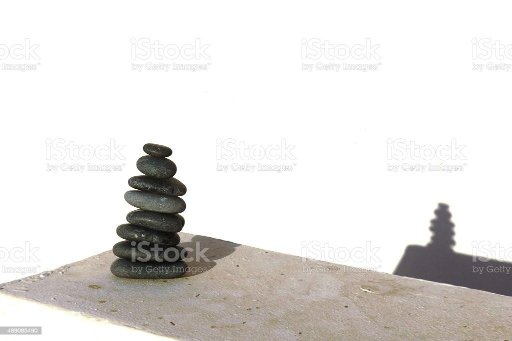 pile of black stones stock photo