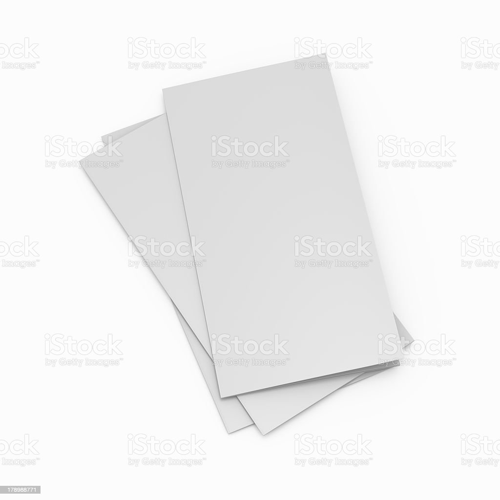 A pile of blank leaflets on a white background stock photo