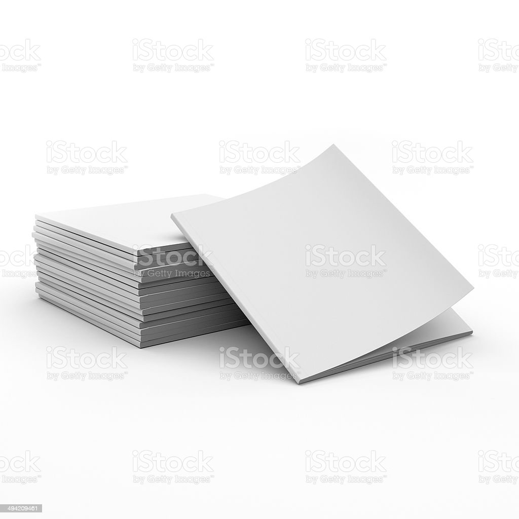pile of blank square catalogs stock photo