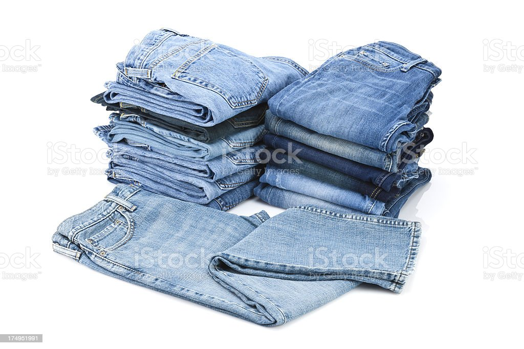 Pile of Blue Jeans royalty-free stock photo
