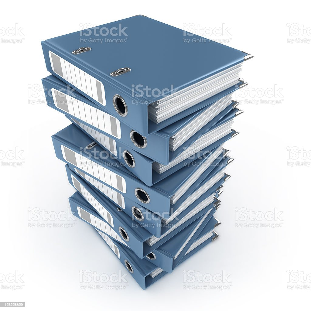 pile of blue ring binders royalty-free stock photo