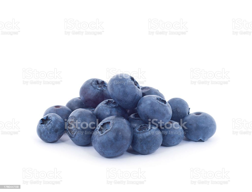 Pile of Blueberries isolated on white stock photo