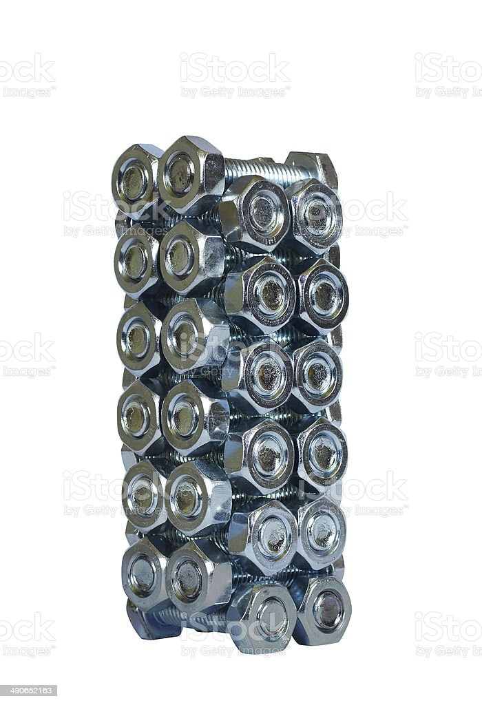 pile of bolts and nuts royalty-free stock photo