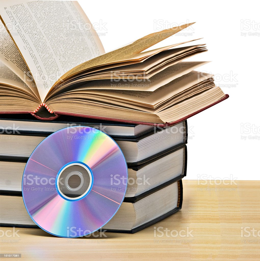 Pile of books  and DVD royalty-free stock photo
