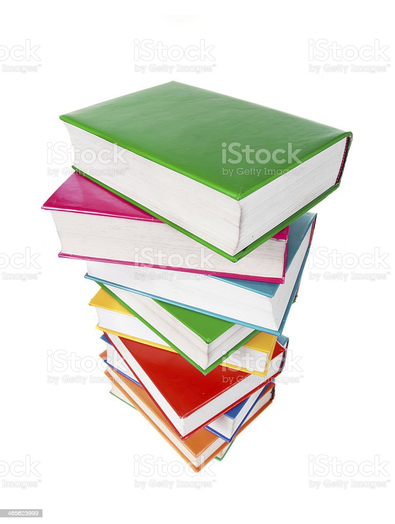 Pile of books isolated on a white background royalty-free stock photo