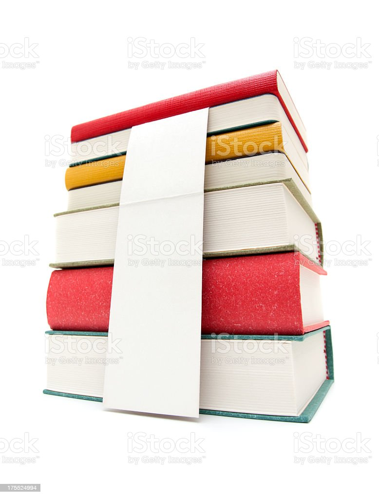 Pile of books isolated on white background stock photo