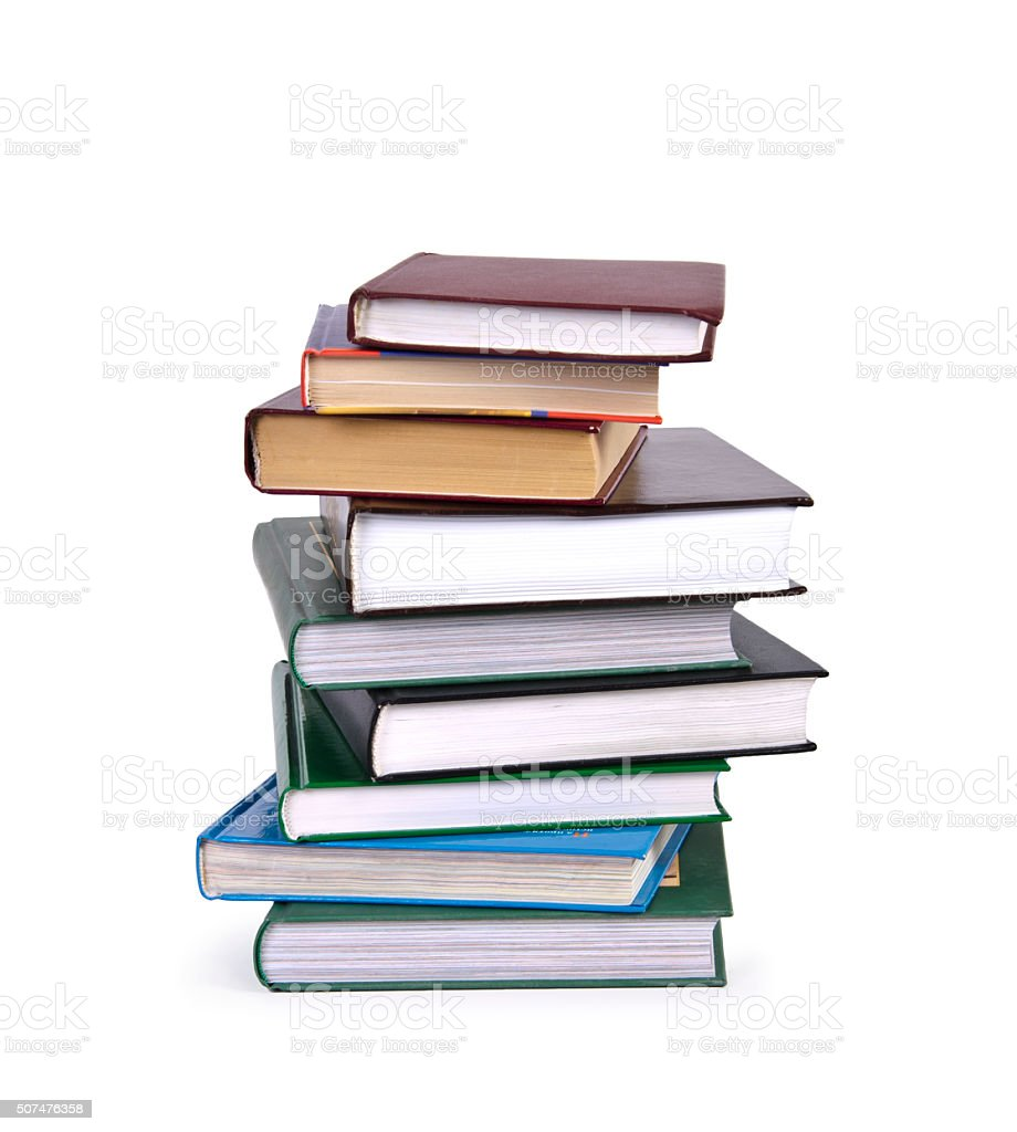 Pile of Books isolated on white stock photo