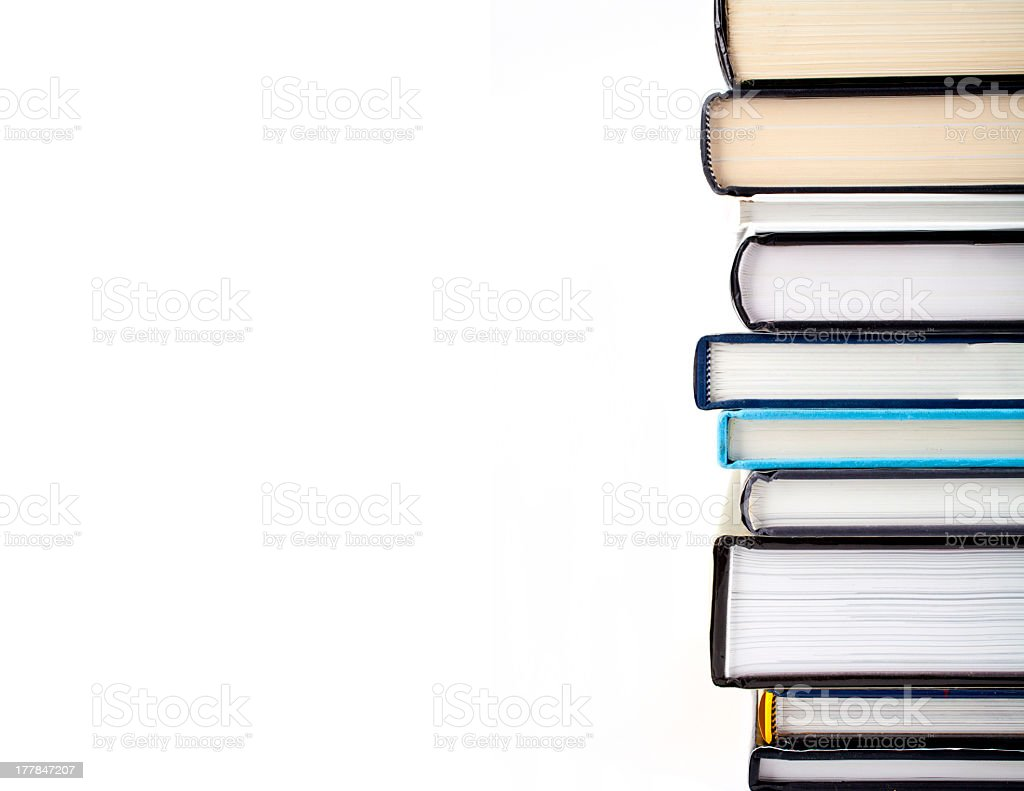 A pile of books on a white background stock photo