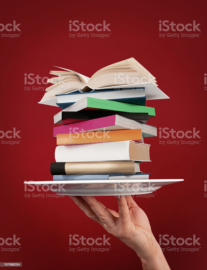 Pile of Books on the Plate stock photo