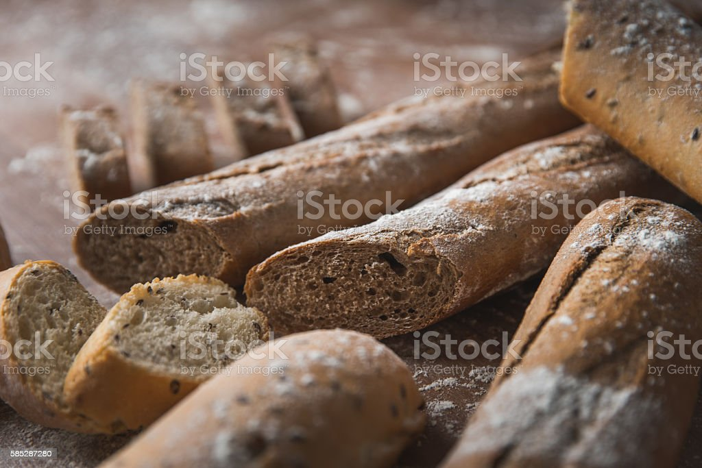 Pile of bread on the table stock photo