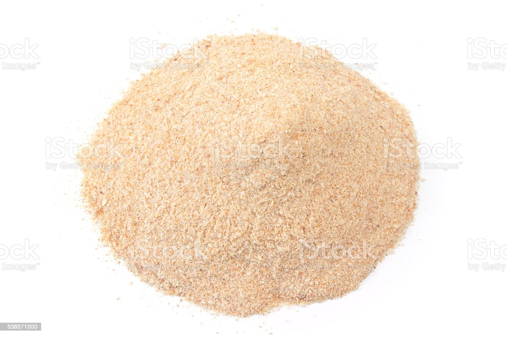 Pile of breadcrumbs isolated on white stock photo