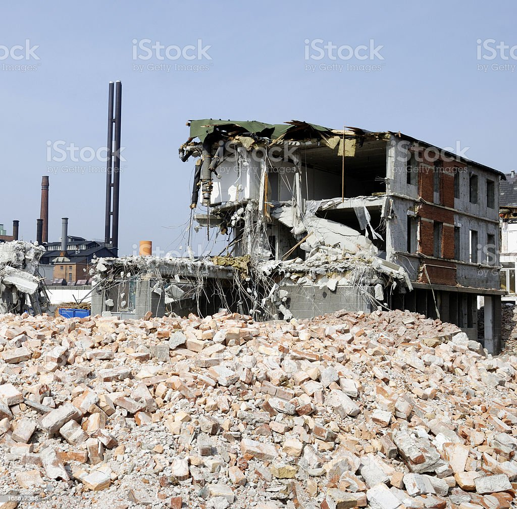 Pile of brick and demolished house royalty-free stock photo