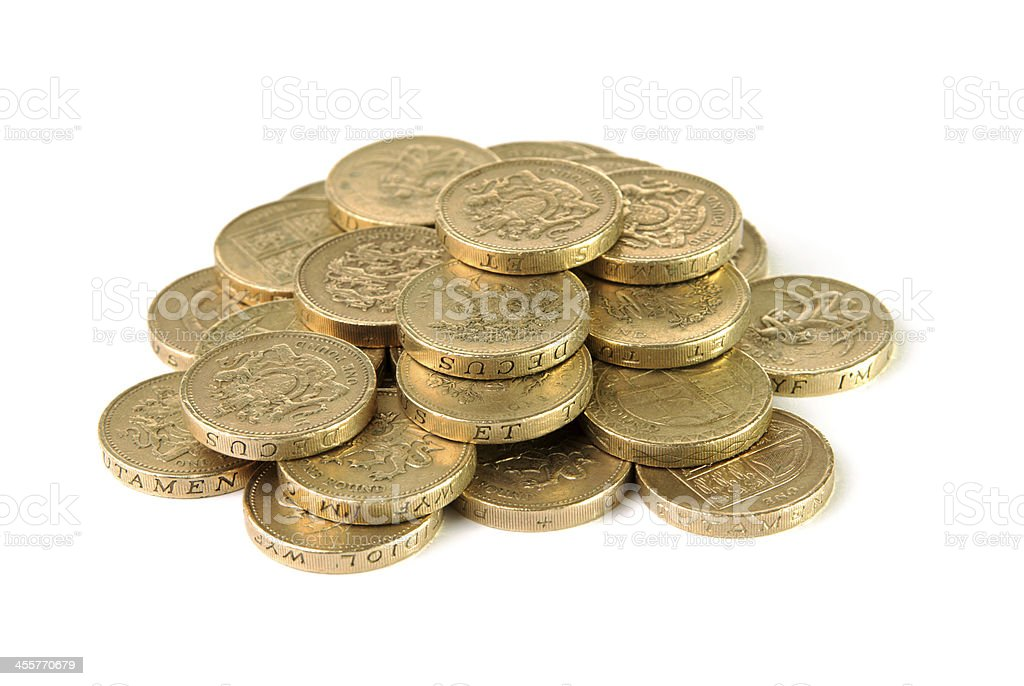 Pile of British pound coins stock photo