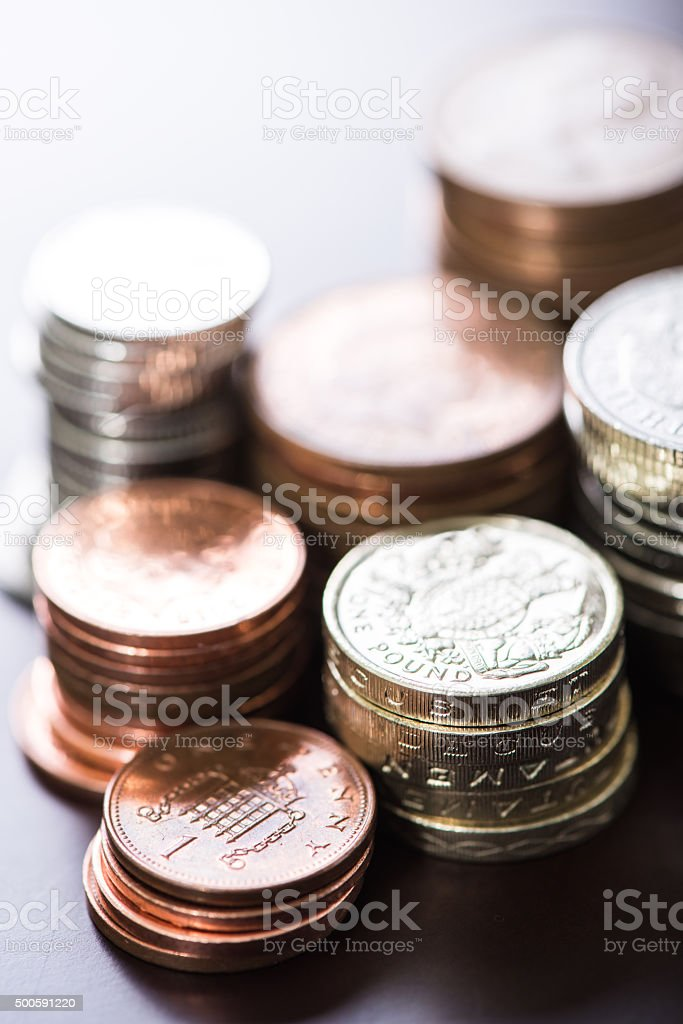 Pile of british pound sterlings coins stock photo