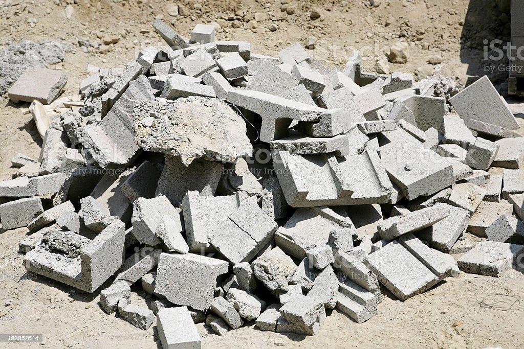 Pile of broken block stock photo