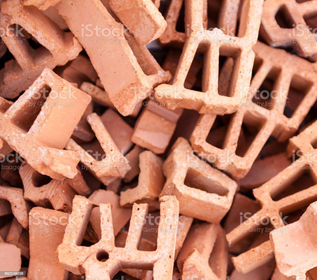 Pile of broken bricks stock photo