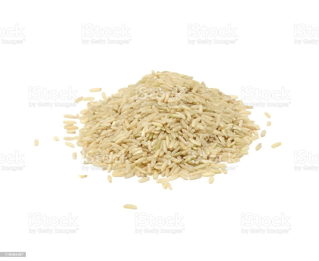 Pile of Brown Rice Isolated on White Background royalty-free stock photo