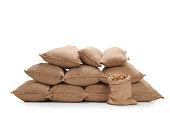 Pile of burlap sacks filled with potatoes