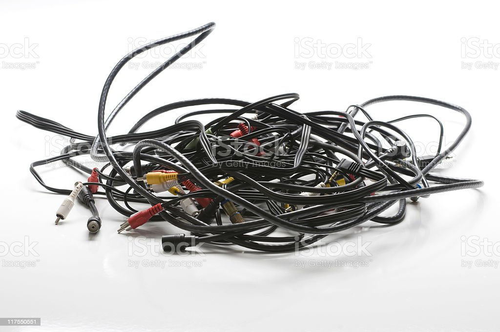 Pile of cables stock photo