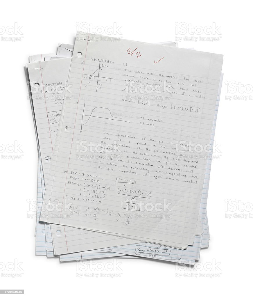 Pile of Calculus Homework royalty-free stock photo