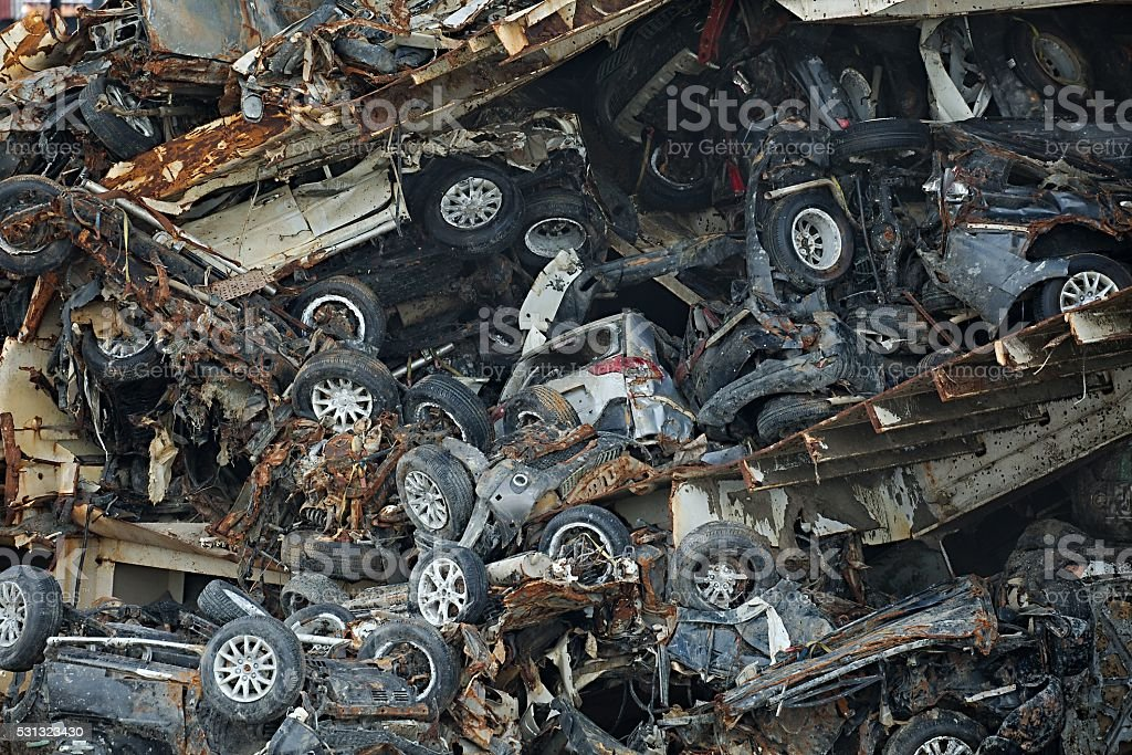 Pile of car wrecks stock photo