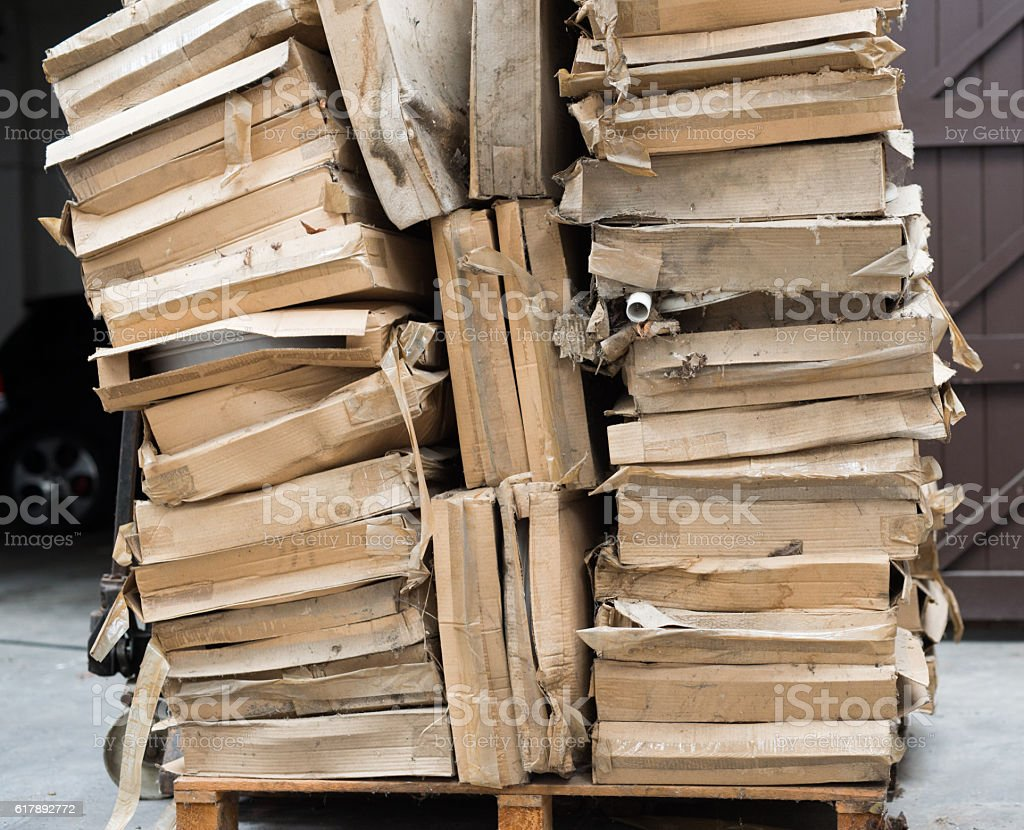 pile of cardboard boxes stock photo