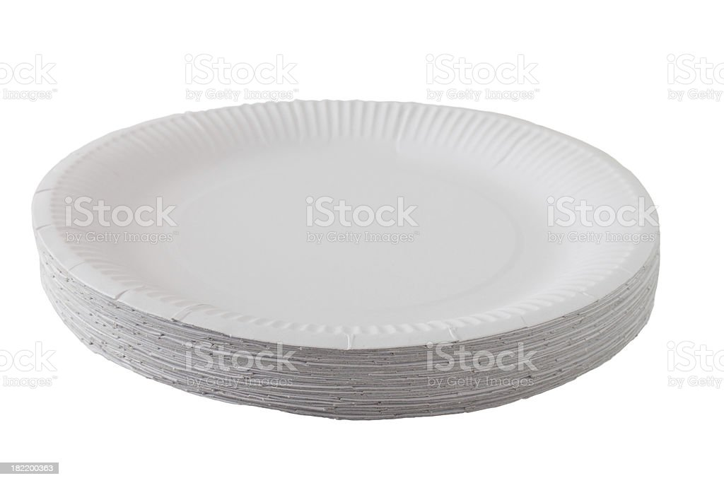 pile of cardboard / paper picnic plates stock photo