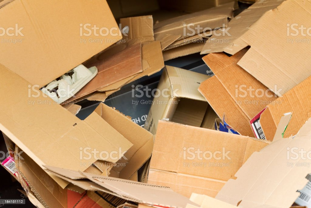 A pile of cardboard pieces in a recycle bin royalty-free stock photo