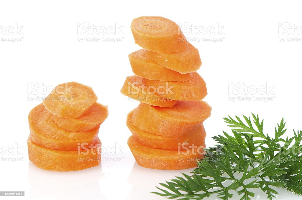 Pile of carrot slices royalty-free stock photo