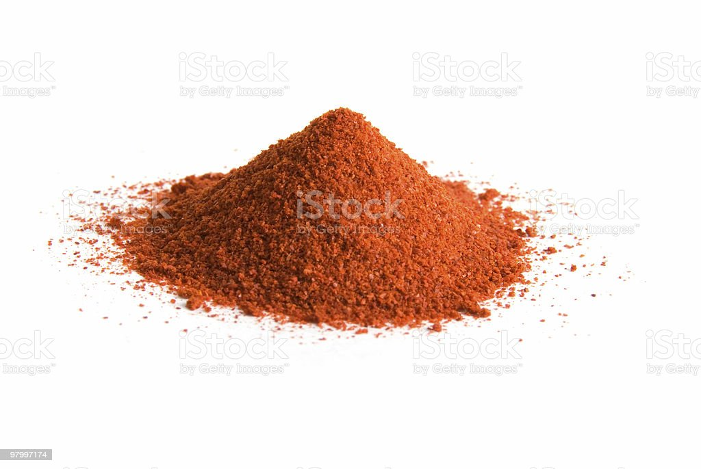 Pile of cayenne pepper on white stock photo