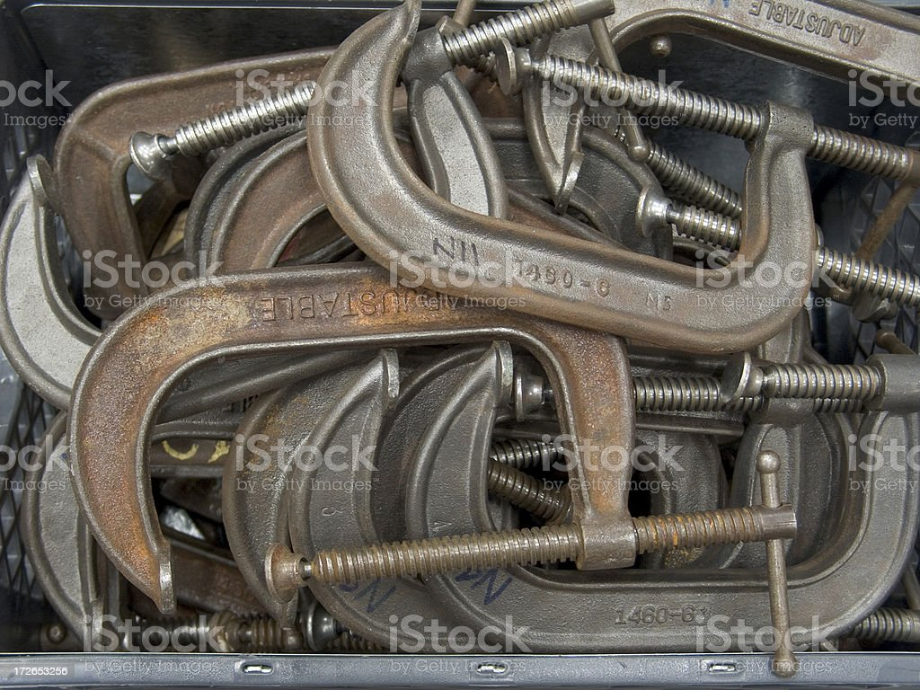 Pile of C-Clamps stock photo