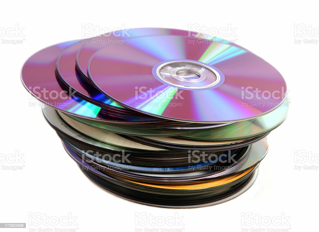 Pile of Cd DVD Discs on a white background stock photo