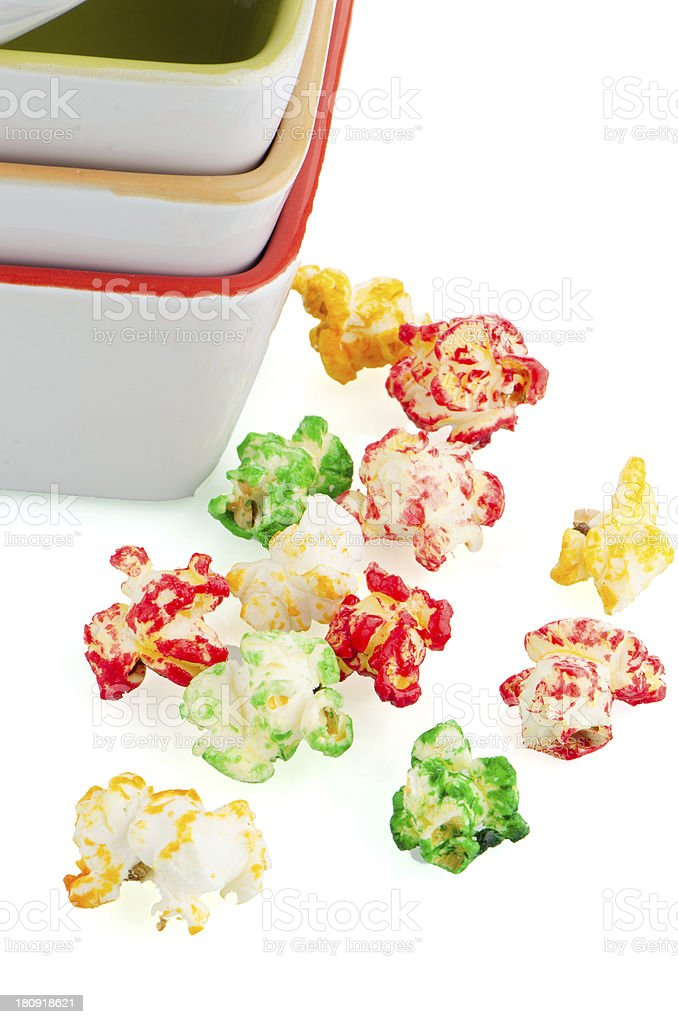 Pile of ceramic bowls and popcorn royalty-free stock photo
