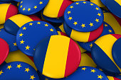 Pile of Chadian and European Flag Buttons 3D Illustration