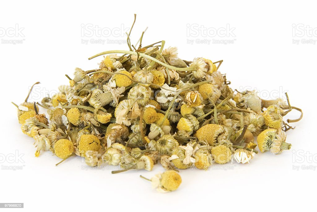 Pile of chamomile on white royalty-free stock photo