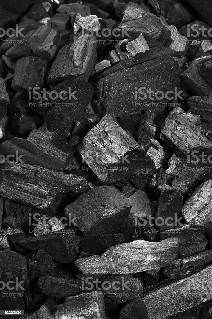 Pile of charcoal, in large and small pieces royalty-free stock photo
