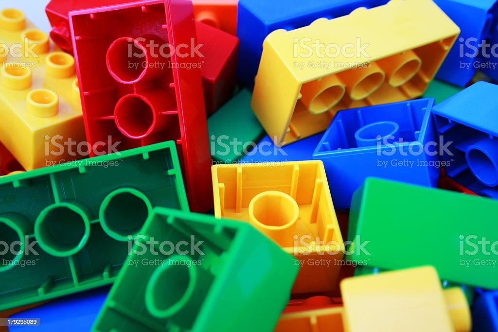 A pile of children's colorful bricks stock photo