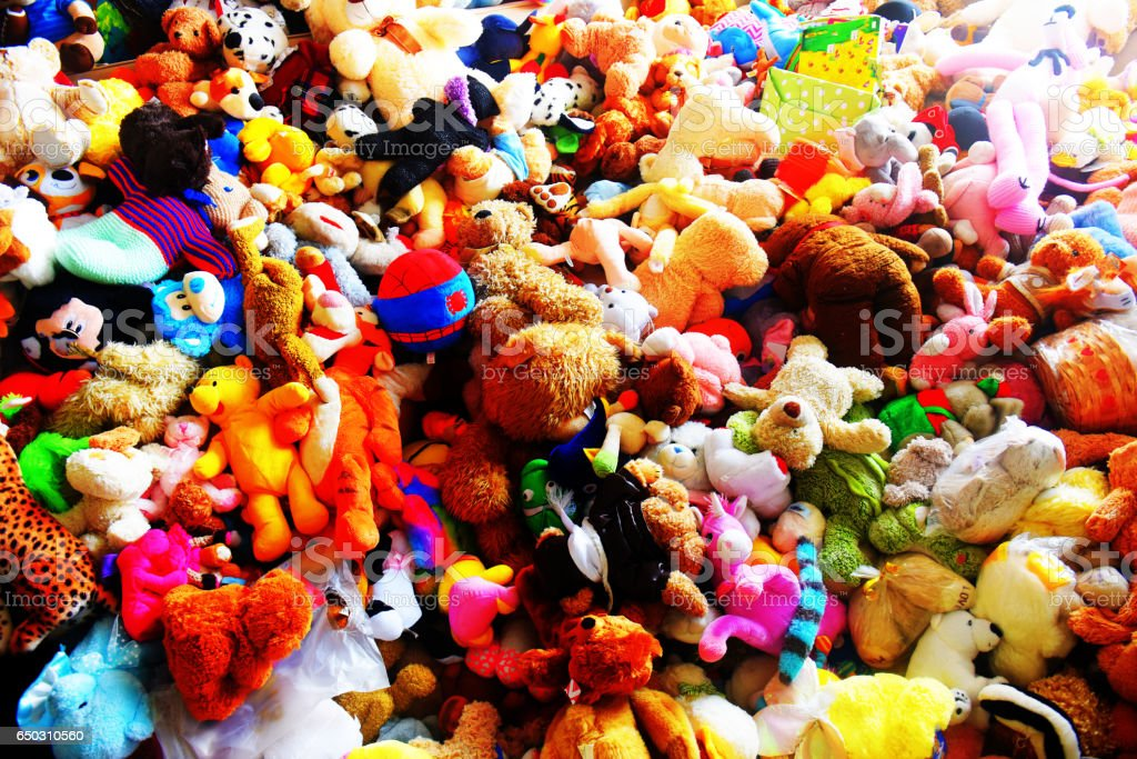Pile of childrens toys stock photo