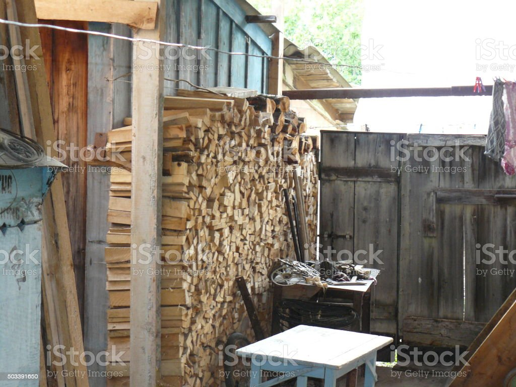 Pile of chipped firewood stock photo